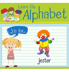 Flashcard alphabet J is for jester vector