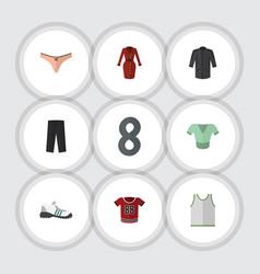 Flat garment set of lingerie uniform sneakers vector
