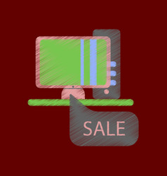 flat shading style icon computer sale online vector image