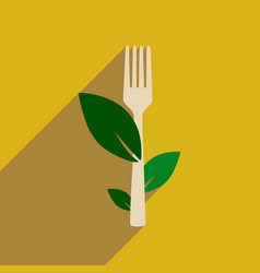 Flat web icon with long shadow eco fork vector