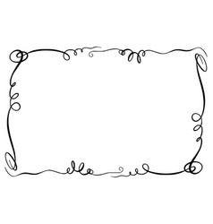 flourish frame rectangle with squiggles vector image