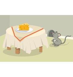 funny mouse and cheese vector image