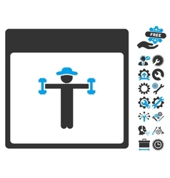 Gentleman Fitness Calendar Page Icon With vector