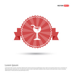 glass of juice icon - red ribbon banner vector image
