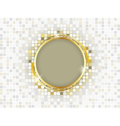 Gold ring with space for text on a mosaic vector image