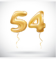 Golden number 54 fifty four metallic balloon vector