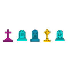 grave icon set color outline style vector image