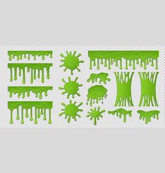 Green slime goo paint drip spooky liquid borders vector