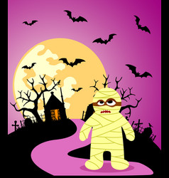 Halloween background with mummy and full moon vector