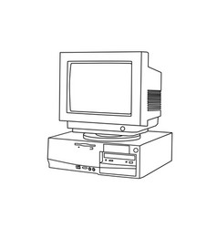 hand line drawing an old computer and monitor vector image