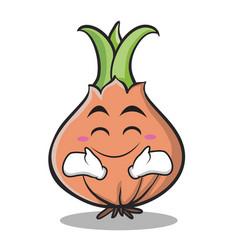 Happy face onion character cartoon vector