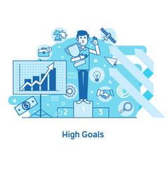 high goals conceptachievement of high goals self vector image