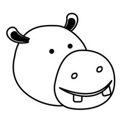 Hippopotamus cartoon head in black sections vector