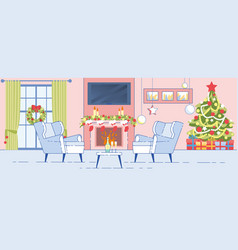 home interior christmas decoration flat vector image