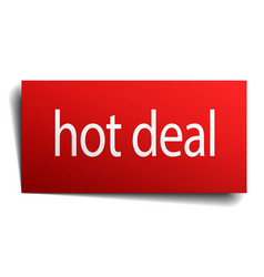 Hot deal red square isolated paper sign on white vector