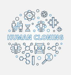 Human cloning round in outline vector