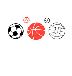 Icons of different sports balls vector