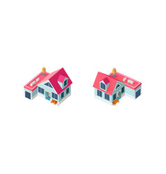 isometric set house with garage vector image