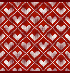 knitted seamless pattern with hearts for vector image