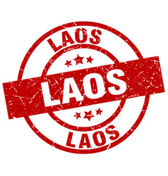 laos red round grunge stamp vector image
