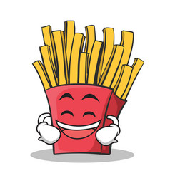 Laughing face french fries cartoon character vector