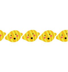 lemons seamless border with happy smiling face vector image