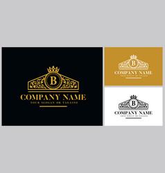 Letter b logo design luxury gold vector