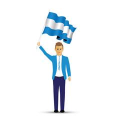 man waving an argentina flag vector image