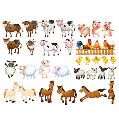 Many kinds of farm animals vector