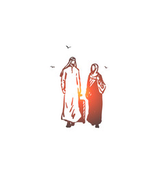 Married couple traveling concept sketch hand vector