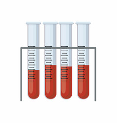 medical test tubes with blood in holder vector image