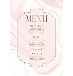 Menu design with elegant pink marble design vector