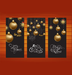 merry christmas banners with gold balls background vector image