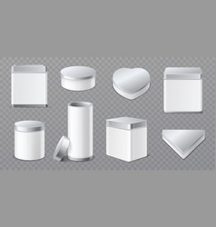 metal boxes realistic tin jars 3d white vector image