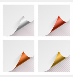 metallic curled corner paper mock up set on vector image