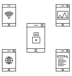 mobile operations icon set vector image