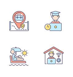 Modern work rgb color icons set vector