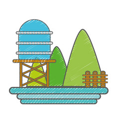 Mountains with water tank towel and grid wood vector