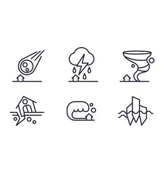 Natural disaster icons set meteorite fall vector