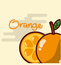 orange whole and slice fruit delicious shiny vector image