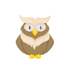 owl bird animal character wild childish or vector image