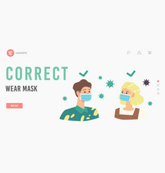 People wear mask correct way landing page template vector