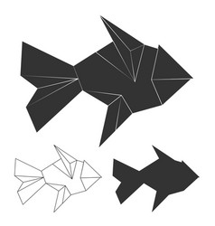 Polygonal line and silhouette fish logo vector