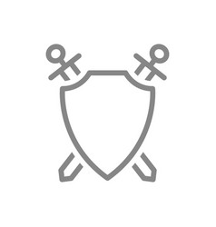 protective shield with swords line icon vector image