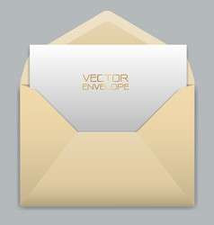 realistic yellow envelope with white card inside vector image