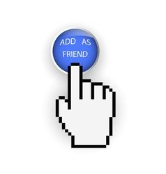 Round blue button with Add as friend and hand vector image