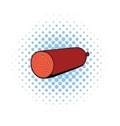 Salami sausage icon comics style vector