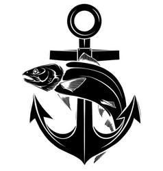 Salmon logo with anchor design vector