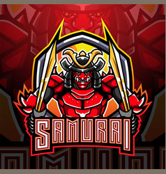 samurai warrior esport mascot logo design vector image