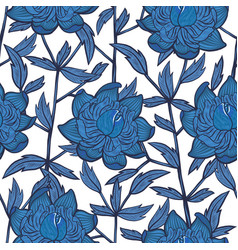 seamless abstract floral pattern with blue flowers vector image